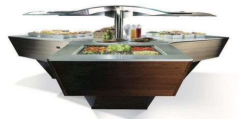 Enofrigo Salatbar Triangel Neues Modell Topview 2016 wood